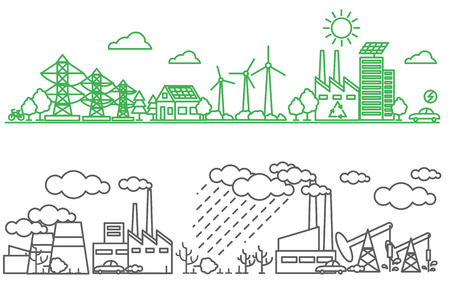 green lines: Environment, ecology infographic elements. Environmental risks and pollution, ecosystem. Can be used for background, layout, banner, diagram, web design, brochure template. Vector illustration line art