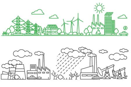 Medio ambiente, la ecología elementos infográficos. Los riesgos ambientales y la contaminación, los ecosistemas. Puede ser utilizado para el fondo, diseño, bandera, diagrama, diseño web, plantilla de folleto. Vector ilustración línea de arte
