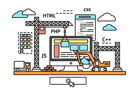Diseño delgado línea plana del proceso de creación de la página web, sitio web en construcción, diseño del formulario del sitio y los botones del menú de interfaz desarrollan. Moderno concepto de ilustración vectorial, aislados en fondo blanco.