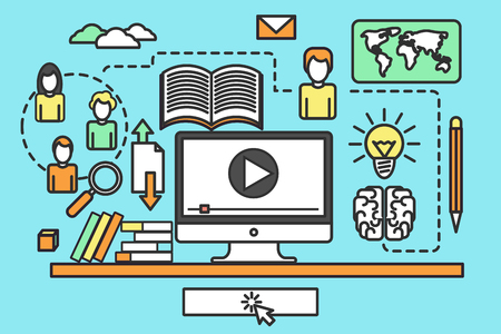 web courses: Thin line flat design concept of online education, video tutorials, training courses, ebook, online university. Vector illustrations for website banners, promotional materials, education app. Thin line icons of global education form, online webinar, video