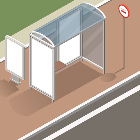 blank road sign: isometric bus stop with street banner mockup for advertising and posters. Isometric view of the street with a stop and street banners. Flat design illustration