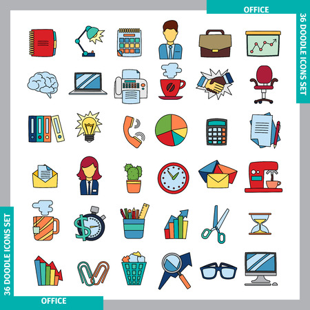 topics: Icons for office and business topics in the style of colored doodles. Hand drawn. Vector illustration. Illustration