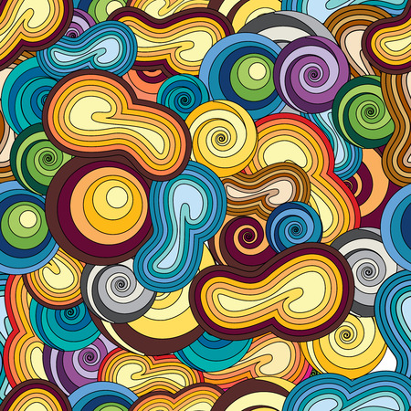 jungle: Doodles hand drawn endless pattern. No particular theme. Vector background. Cartoon flat color