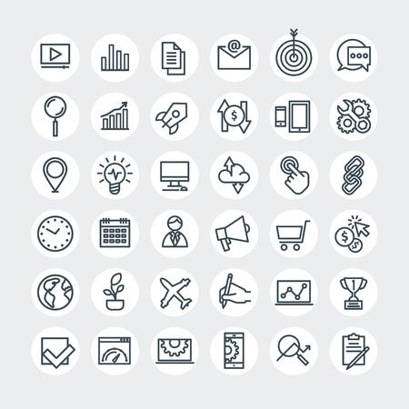 apoyo social: establecer líneas finas iconos web. Optimización de motores de búsqueda. Ilustración del vector. Vectores