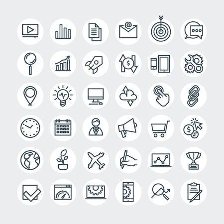 media icons: Thin lines web icons set. Search Engine Optimization. Vector illustration.