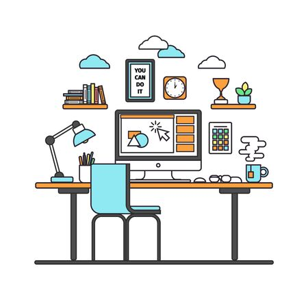 modern interieur: Thin line flat design of modern workspace with desktop computer, developer work place, artist equipment in office interior. Modern vector illustration concept, isolated on white background.