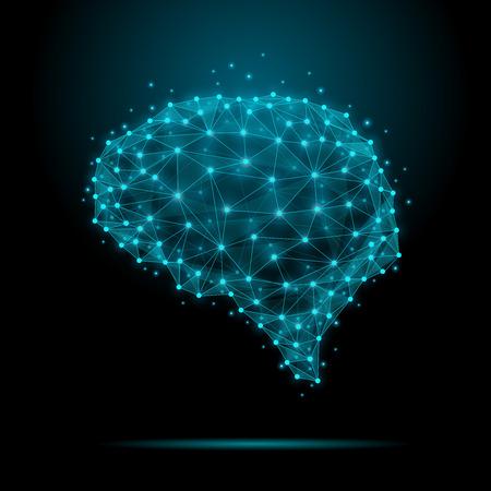 mente humana: Cerebro humano poligonal. El concepto consiste en polígonos con nodos luminosos en las intersecciones de las costillas. Ilustración vectorial