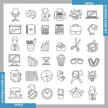 line art: Iconos de oficina y negocios temas en el estilo de whitedoodles negros. Dibujado a mano. Ilustraci�n del vector. arte lineal