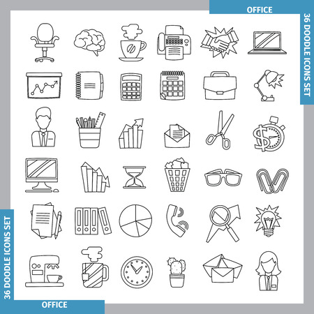 doodles: Icons for office and business topics in the style of black whitedoodles. Hand drawn. Vector illustration. line art