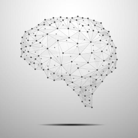 cerebro humano: Cerebro humano poligonal. El concepto consiste en pol�gonos con nodos luminosos en las intersecciones de las costillas. Ilustraci�n vectorial