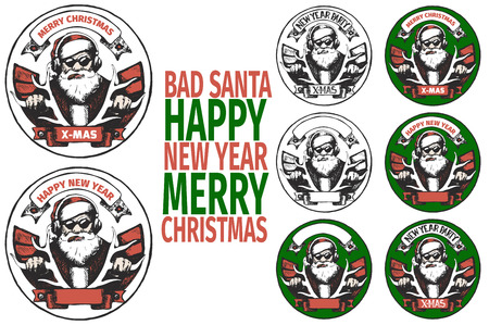 bad color: set of round poster with BAD SANTA of doodle hand drawn. Flat collor and black and white vector illustration. Illustration