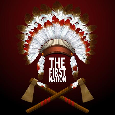 indios americanos: Concepto de tocado de indio con dos hachas de guerra. Ilustración vectorial realista