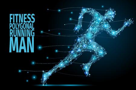 Running Man z abstrakcyjnego wielokąta błękitu. poli Niski mężczyzna w ruchu