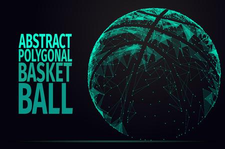 basket ball: Abstract basket ball. Vector basket illustration. Polygonal blue and green ball.