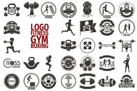 fitness center: Big gym, fitness, cross and boxing silhouette icons. Set of monochrome fitness emblems, labels, badges, logos and designed elements.