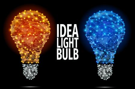 アイデアのコンセプトとベクトル電球アイコン。抽象的な多角形のイラスト。