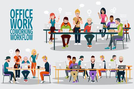 Zaken Mensen Werken Office corporate Team Concept. Gedeelde werkomgeving. Mensen praten en werken op de computers in de open ruimte kantoor. Platte design stijl.