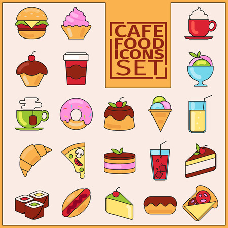 black stroke: Appetizing colorful icons with a black stroke on the topic of food, desserts, coffee. Icons are made in a flat style with a black stroke. Baking and desserts, food, menu, cafe, cafeteria menu.