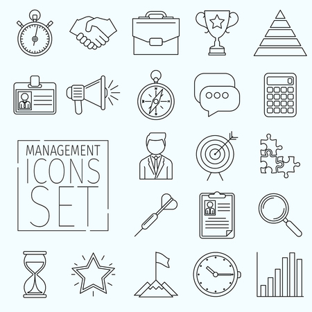 icons business: Set of business icons arranged in a line art style. Suitable for illustrating the following topics office, business, marketing, management, and others. Icons have the same thickness contour. Illustration