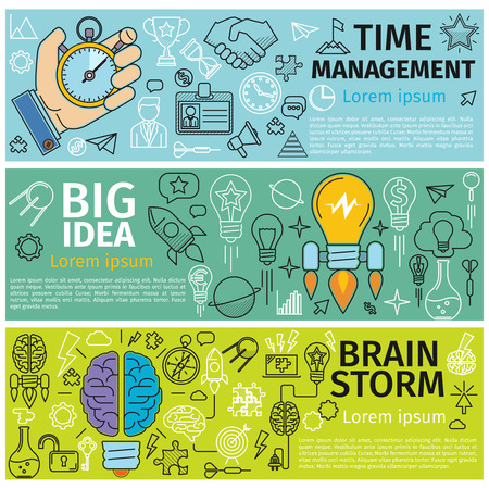 design ideas: Flat concept banners of Time management, Creative design, Big Idea, Brainstorm. Line art icons  Innovation and solution. business idea. Vector illustration