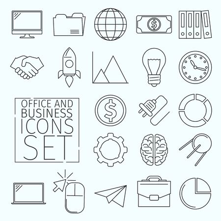 illustration: Set of business icons arranged in a line art style. Suitable for illustrating the following topics office, business, marketing, management, and others. Icons have the same thickness contour. Stock Photo