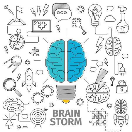 브레인 스토밍의 평면 라인 아트 개념입니다. 혁신과 솔루션을 제공합니다. 사업 아이디어, 벡터 일러스트 레이 션, 기획, 유통, 목표를 설정 구성, 목 스톡 콘텐츠