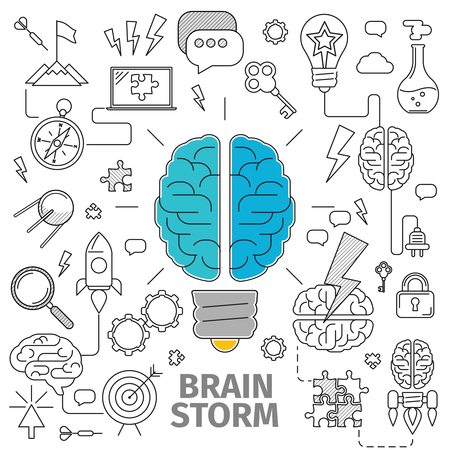 Flat Line Art concept of a brainstorm. Innovation and solution. business idea, vector illustration, Planning, distribution, setting goals, organizing, drawing up lists and prioritizing Banco de Imagens - 50413690
