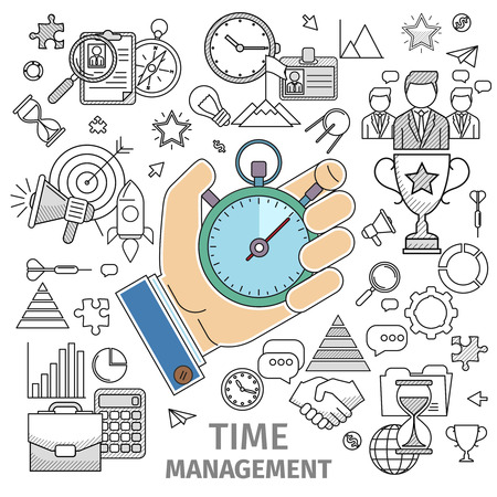 Line art flat concept of organizes working time, time management. Planning, distribution, setting goals, delegation, analysis of time spent, monitoring, organizing, drawing up lists and prioritizing. Stock Photo