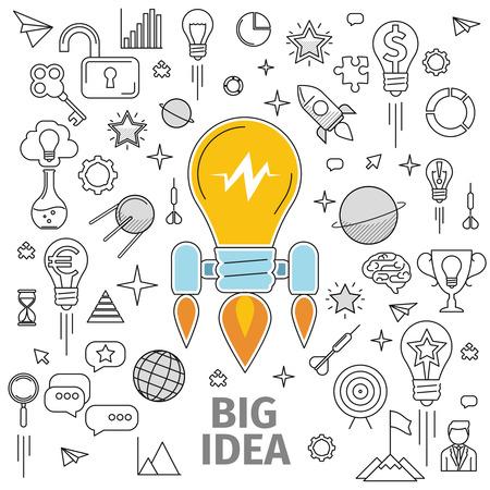 Lijntekeningen flat begrip grote idee. Illustratie van een strategie voor de ontwikkeling en promotie van het project in marketing en reclame. Promotie van het merk, product of idee, informatie wave.