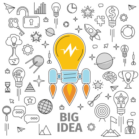 lightbulbs: Line art flat concept of big idea. Illustration of a strategy for the development and promotion of the project in marketing and advertising. Promotion of the brand, product or idea, information wave.