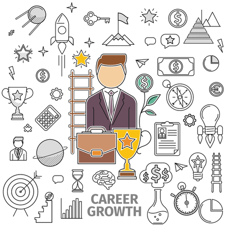 basis: Line art flat concept of Career Growth. Basis -  man in a business suit, briefcase, cup and growth and contour icon on the topic. illustration of flat in a line art style Illustration