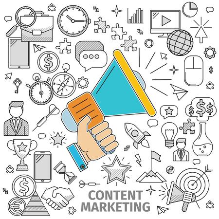 Line art flach Konzept des Content Marketing. Basis - Lautsprecher in der Hand und Kontur-Symbol auf dem Thema. Illustration der Wohnung in einer Linie Art-Stil