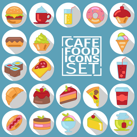 Appetizing colorful icons with a black stroke and shadow on the topic of food, desserts, coffee. Icons flat style with a black stroke. Baking and desserts, food, menu, cafe, cafeteria menu. Illustration