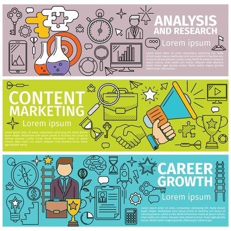 Concept Career Growth. Concept Analysis and Research. Concept Content Marketing. Flat concept banners Line art icons Innovation and solution. business idea. illustration