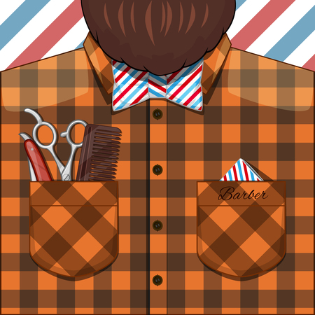 hair styles: Barber Bearded Man with a beard in a plaid shirt and characteristic bow tie. In his pocket comb, razor, scissors. illustration for barbers and barber shops. Illustration