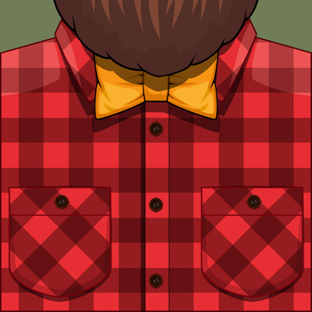 beard man: Bearded Man cartoon illustration. Hipster man with beard. Bearded Man in red checkered shirt and yellow bow tie. Barber client. Illustration