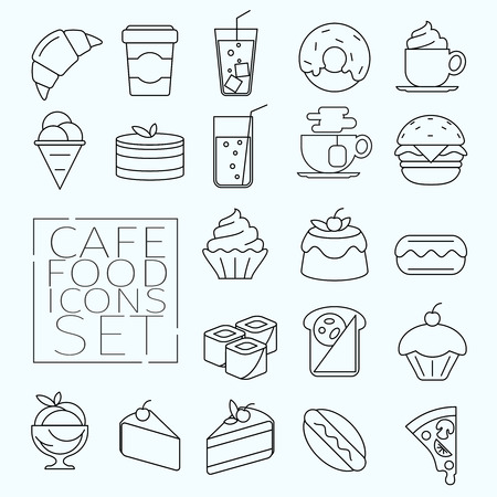 coffee icon: Line art food icons. Desserts, cakes, fast food and drinks. Icons for use in the cafe menu, on the sites of food, applications, etc. Illustration