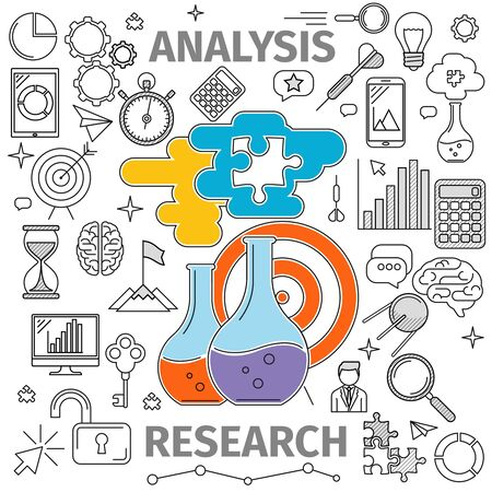 reagents: Concept Analysis and Research in flat line art. In the center shows two flasks with reagents and a target with an arrow. The illustration on the theme of business and management.
