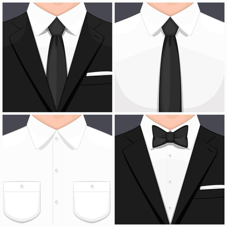 black tie: Man in suit flat design. Man in white shirt. Man in white shirt and black tie. Manin smoking. Man in suit and black bow tie. illustration. Illustration