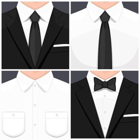 Man in suit flat design. Man in white shirt. Man in white shirt and black tie. Manin smoking. Man in suit and black bow tie. illustration. Illustration