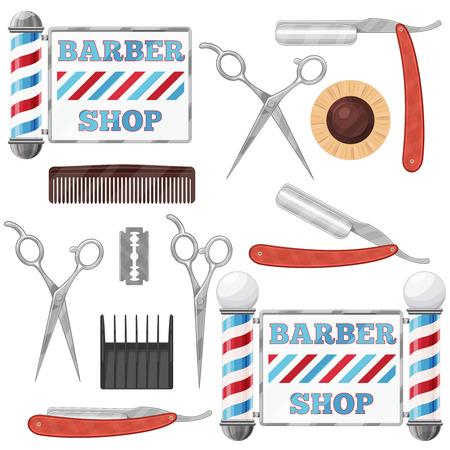 barbero: Conjunto de divisas y elemento de dise�o. Herramientas de la barber�a de la vendimia. ilustraci�n.