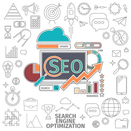 business website: Flat Line Art concept of a Search Engine Optimization. Business internet concept. Flat line art digital vector illustration.