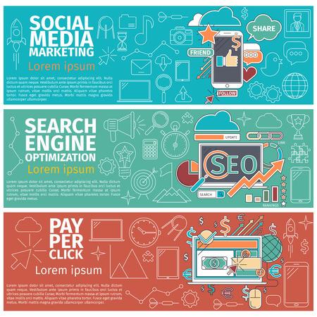 klik: Flat begrip banners van Social Media Marketing, Search Engune optimazation, Pay Per Click. Lijntekeningen pictogrammen Innovatie en oplossing. Flat business idee. Digitale Vector illustratie
