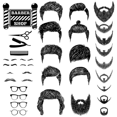 beard man: A set of hand drawn of mens hairstyles, beards and mustaches, tools, barbera and the sign Barbershop. Gentlmen haircuts and shaves. Digital black vector illustration.