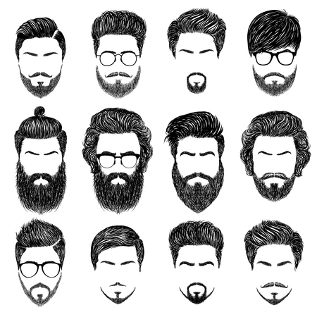 male symbol: A set of mens hairstyles, beards and mustaches.Gentlmen haircuts and shaves.  Digital hand drawn vector illustration.