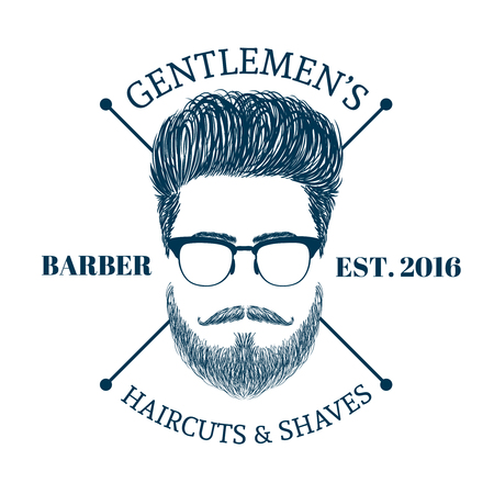 beard man: Barbr shop logo. Gentlmen haircuts and shaves club. Male hairstyles, beards, mustaches and glasses. Digital hand drawn vector illustration. Illustration