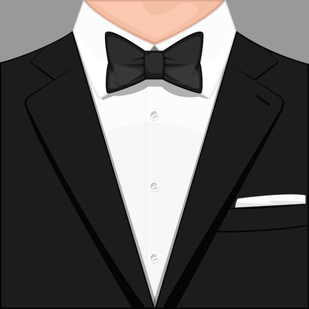 dress coat: A man dressed in a tuxedo. Digital vector illustration. Flat design