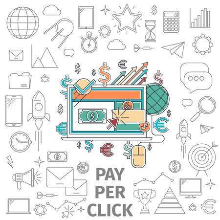 klik: Pay-per-click concept. Zakelijke internet concept. Vlakke lijn kunst digitale vector illustratie.