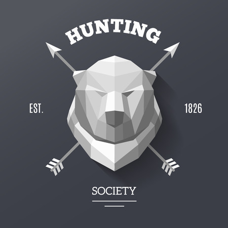 Bear labels. with the head of a bear in the center. Hunting society label. Polygonal illustration