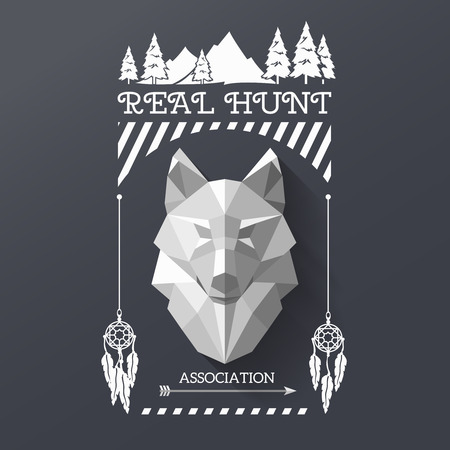 lable: Real hunt with head of wolf in the center of lable. Polygonal wolf and forest sing. Hunter association lable. illustration